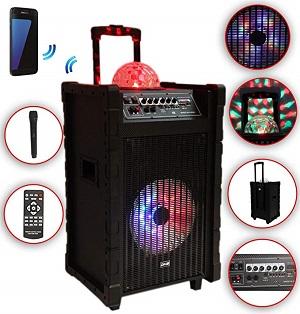 Karaoke Anlage mobile PA Lautsprecherbox Trolley USB SD MP3 Wireless LED DMS® K10-10FZ