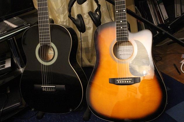 Westerngitarre und Konzertgitarre